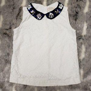 Johnnie B Girls Lace Tank Embellish Collar 11-12 Y